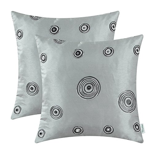 CaliTime Pack of 2 Cushion Covers Throw Pillow Cases Shells for Sofa Couch Home Decoration 18 X 18 Inches Modern Random Circles Rings Geometric Chain Embroidered Gray