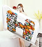 homecoco Letter H Large Bath Towel Letter H Stacked from Gaming Balls Alphabet of Sports Theme Competition Activity Adults Soft Absorbent Quick Dry Blanket Multicolor