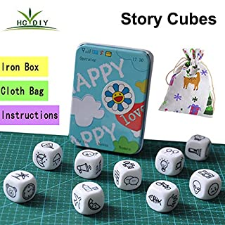 HC DIY Happy Story Dice 9 Cubes Toys 54 Images Unlimited Stories Combinations Iconic Storytelling Game Imaginative Play for Kids