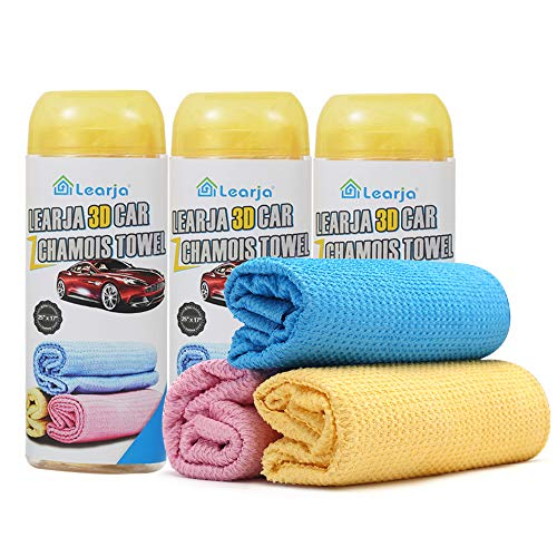 3 Packs Car Wash Chamois Towel【Upgraded version】Premium Synthetic Shammy Towel Learja Faster Drying No Lint No Streak (Yellow, 25 x 17 inches)
