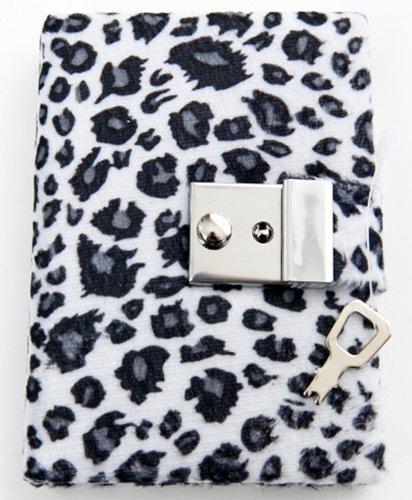 Animal Print Diary - Teen Locking Journal Lock & Key (WHITE W/ GREY SPOTS) Model: