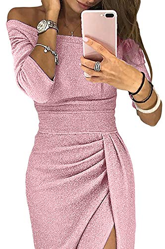 Ouregrace Womens Off Shoulder Metallic Glitter Ruched High Slit Evening Party Cocktail Dress (Pink, (US 4-6) S) (High Cut Slit)