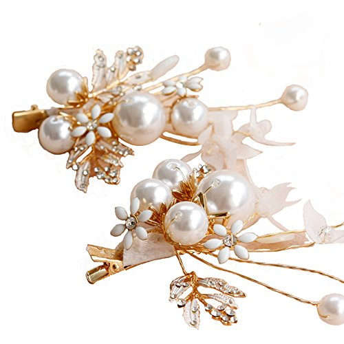 Olici Bridal Wedding/Prom Hair Pins/Headdress Accessories/Party/Girls Bridal Head Beaded Leaves Clips Ornaments Clip On Simple Es ()