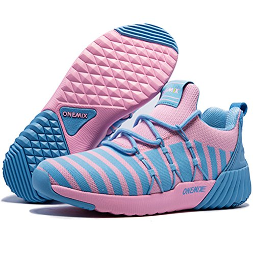 Yidiar Damesmode Trail Hardloopschoenen Gym Athletic Outdoor Trainers Road Jogging Walking Sneakers Roze / Lichtblauw