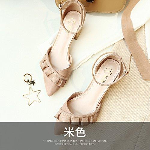 Shoeshaoge heeled Bride Épais Sandales Satin Baotou Avec High Eu38 Fendue Chaussures J'ai Ya Femmes rPqaHw4xr