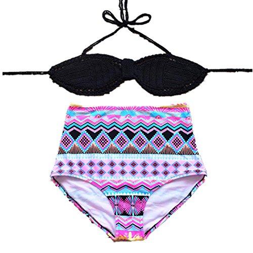 SHISHANG bikini de la mano de la mujer - de punto rápida del medio ambiente - el secado de alta - la cintura Europa y el traje de baño partido Estados Unidos 2