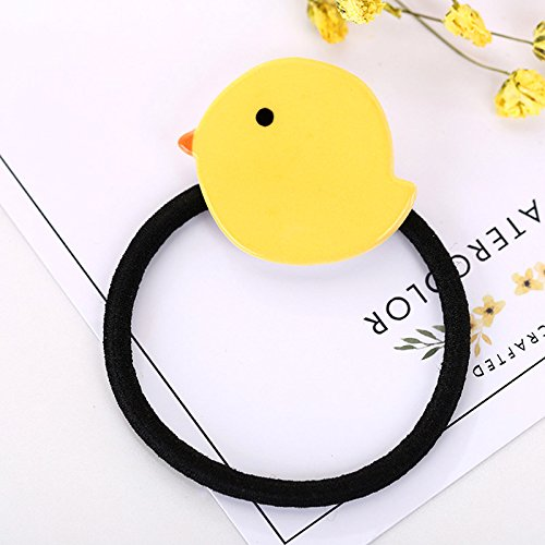 HJPRT cartoon hair ring elastic rope ponytail holder unique sweet elegant hair rope rope fruits school limelight ponytail holder hair tie rubber band hair jewelry (small yellow duck -