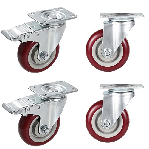 Coocheer 4'' Swivel Caster Wheels With Top Plate & Bearing Heavy Duty On Red Polyurethane Wheels Set of 4 (2 Swivel Without Brake, 2 Swivel with Brakes) (Polyurethane Red)
