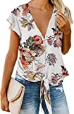 Casual Tops for Women Short Sleeve V Neck Button Down Floral Print Chiffon Shirts and Blouse Floral White L