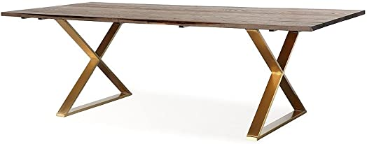 TOV Furniture The Leah Collection Modern Handcrafted Rustic Wood Stainless Steel Dining Table