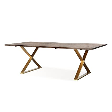 Tov Furniture The Leah Collection Modern Handcrafted Rustic Wood U0026  Stainless Steel Dining Table, Brown