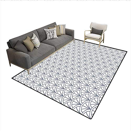 Carpet,Seigaiha Pattern Overlapping Half Circles Ocean Wave Pattern Traditional Japanese,Indoor Outdoor Rug,Grey White 5'x6'