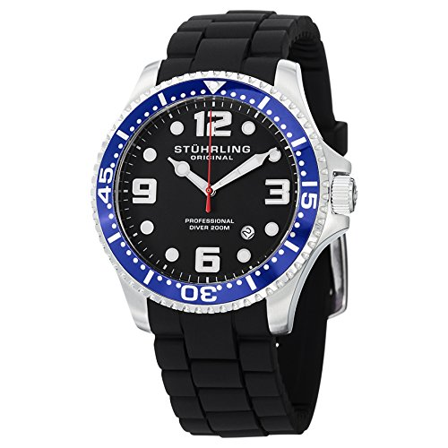 - Stuhrling Original Men's 675.01SET Aquadiver Swiss Quartz Additional Blue Strap Watch Set