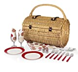 Picnic Time 'Barrel' Picnic Basket with Service for Two, Moka Collection For Sale