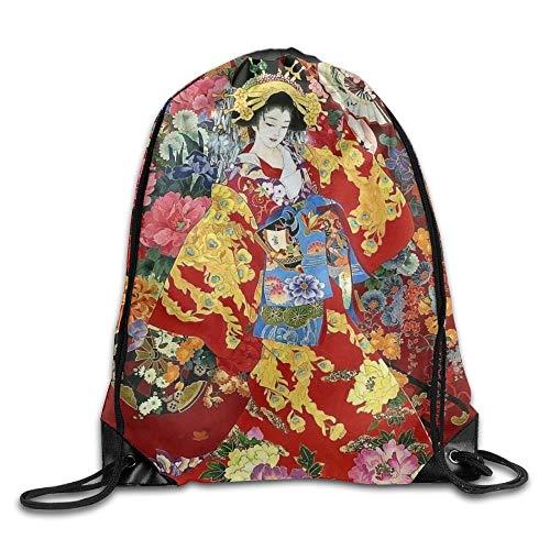 Beatybag 3D Print Drawstring Bags Bulk, Retro Japanese Geisha Girl Unisex Outdoor Gym Sack Bag Sport Drawstring Backpack Bag
