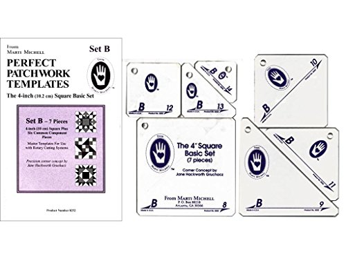 Perfect Patchwork 4-Inch Template Set B, Basic Square Set, Package of (Quilting Template Set)
