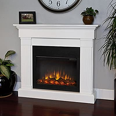 Real Flame Crawford Slim Line Electric Fireplace - White
