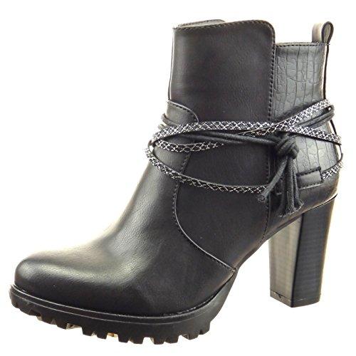 Sopily - Chaussure Mode Bottine Low boots Montante femmes Peau de serpent multi-bride corde Talon haut bloc 8 CM - Noir