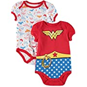 Wonder Woman DC Comics Baby Girls Creeper 2-Pack, Red (6/9M)