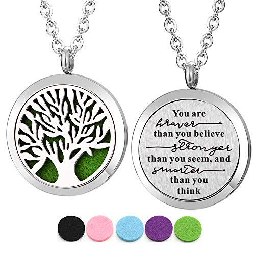 Kissreason Stainless Steel You are Braver Than You Believe Aroma Pendant Aromatherapy Essential Oil Diffuser Necklace