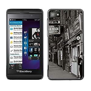 QCASE / Blackberry Z10 / vista de la calle tiendas negro blanco foto retro / Delgado Negro Plástico caso cubierta Shell Armor Funda Case Cover