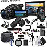 Sony Handycam FDR-AX700 4K HD Video Camera Camcorder + 2 extra Batteries and Charger + 128GB Memory Card + Hard Case + Mic + Monitor + Light + Microphone + Headphones and More - Documentary Bundle