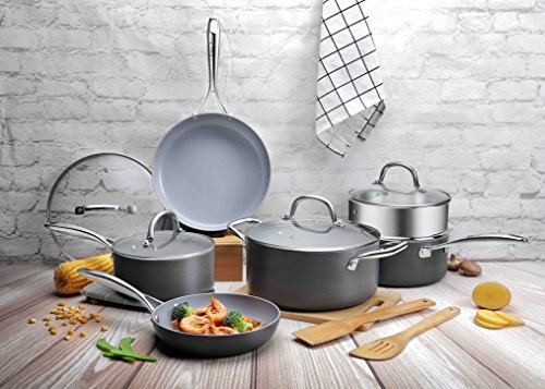 Cooksmark 12 PCS Ceramic Hard-Anodized Aluminum Nonstick Cookware Set, Frying Pan and Pots with Steamer Rack and Bamboo Cooking Utensils, Black & Grey