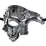CCUFO Steam Punk Phantom of The Opera Vintage Masquerade Venetian Luxury Men Face Mask   Party, Fancy Ball, Prom, Mardi Gras, Wedding, Wall Decoration (Silver)