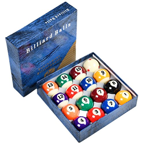 Loto AAA-Grade Tournament Standard Pool Billiard Ball set, complete 16 Billiard Balls (size 2-1/4'') - Tech Billiard Ball Set