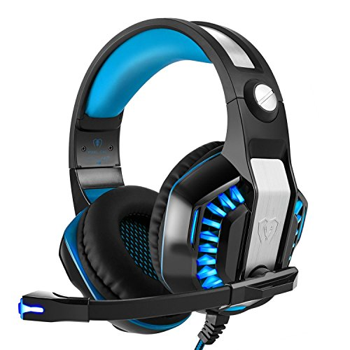 eo Gaming LED Lighting Headset Over-Ear Headphone with Mic for PS4, Mac With Noise Cancelling & Volume Control-Blue ()