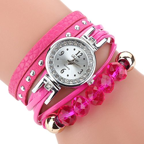 Multi Gemstone Watch (AutumnFall Wrist Watch, New Women Girls Quartz Bracelet Watches Flower Gemstone Wristwatch,Style 3 (Hot Pink))