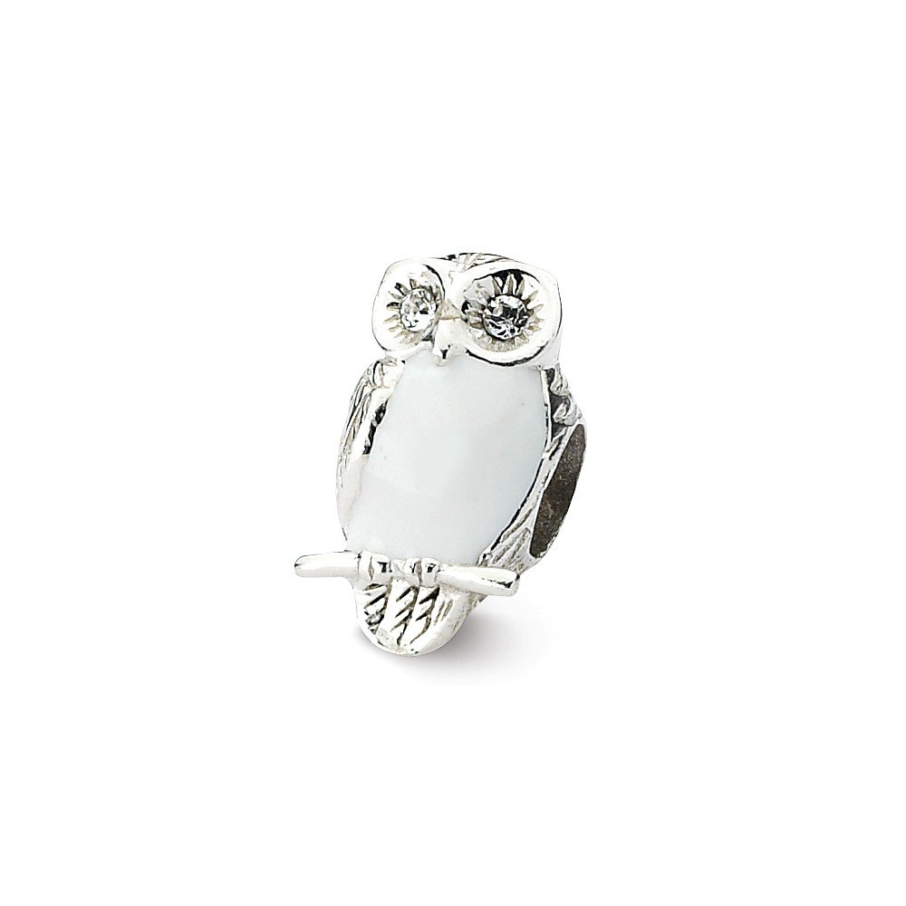 Solid 925 Sterling Silver Reflections Enameled Wise Owl Bead ( 8.2 mm X 13.6 MM )   B076BL6XSH