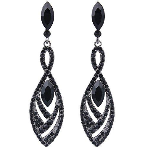 BriLove Fashion Dangle Earrings for Women Crystal Gorgeous Twisted Dual Teardrop Chandelier Earrings Black-Silver-Tone ()