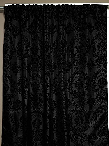 lovemyfabric Taffeta Flocking Damask Print Window Curtain Panel/Stage Backdrop/Photography Backdrop-Black on Black (2, 56