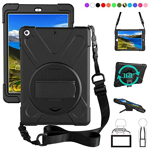 iPad 6th 5th Generation Case, iPad 9.7 2018 2017 Soft Silicone Cover Heavy Duty Shockproof Drop Resistant Water Resistant Rugged Protective Case with 360 Degree Stand Hand Strap Shoulder Strap, Black]()
