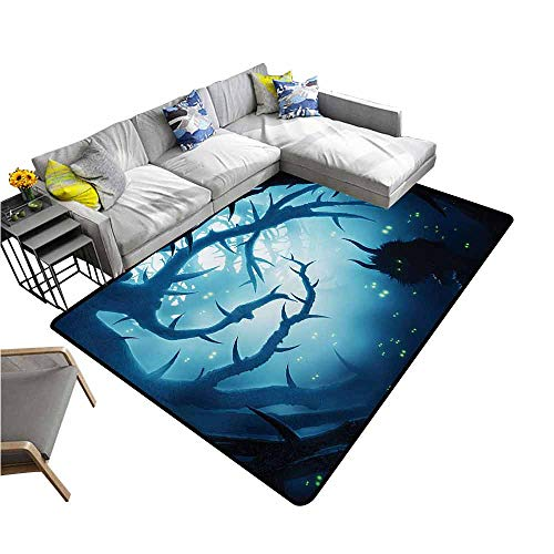 Outdoor Kitchen Room Floor Mat Mystic,Animal with Burning Eyes in The Dark Forest at Night Horror Halloween Illustration,Navy White 80