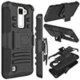 LG K8 Case, Escape 3 Case, Phoenix 2 Case, Zenic(TM) Hybrid Dual Layer Armor Defender Full-body Protective Case Cover with Kickstand & Belt Clip Holster Combo Cover (Black)