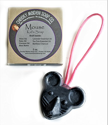 Cheeky Maiden Mouse Kid's Soap 100% Natural Handmade with Saponified Olive Sustainable Palm Coconut Oils Shea Butter Lavender & Tea Tree Essential Oil, Bamboo Charcoal Powder 2.0 oz Made in USA