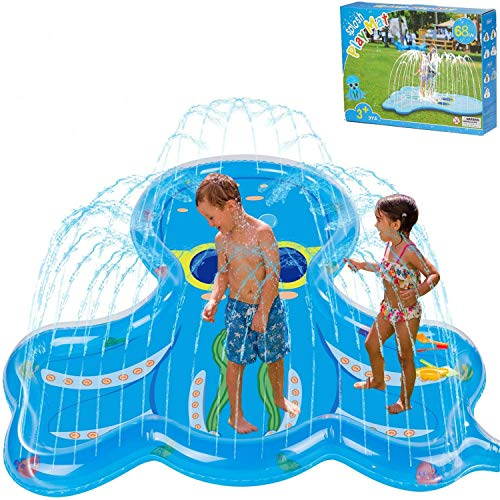 "BATURU Splash Pad for Toddlers, Kids Sprinklers Toys, 68"" Big Size Octopus Splash Play Mat for Backyard Outside"