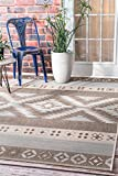 nuLOOM OCAV11A Arianna Ikat Outdoor Rug, 5′ 3″ x 7′ 6″, Grey Review