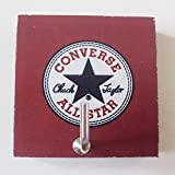 Agility Bathroom Wall Hanger Hat Bag Key Adhesive Wood Hook Vintage Converse All Stars Photo
