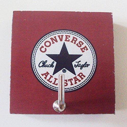 Agility Bathroom Wall Hanger Hat Bag Key Adhesive Wood Hook Vintage Converse All Star's Photo