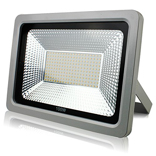 PMS 100W LED Flood Light, IP65 Waterproof for Outdoor, 8000lm, 6000K Floodlight, Wall Security Lights, Spotlights Grey Shell(100W, Daylight White)