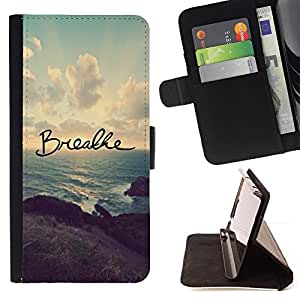 Breathe Yoga Inspiring Message Sunset - Painting Art Smile Face Style Design PU Leather Flip Stand Case Cover FOR Apple Iphone 4 / 4S @ The Smurfs