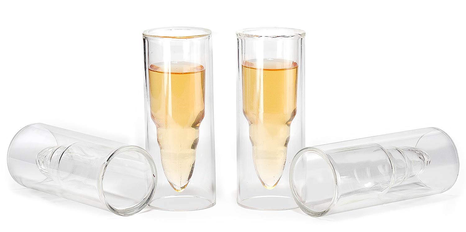 Or Any Drink Set of 4 Can Also Be Used as Shot Glass for: Beer,Wine Coffee 50 Caliber Bullet Shaped Shot Glasses By The Wine Savant Juice Cocktail Drinking Glassware