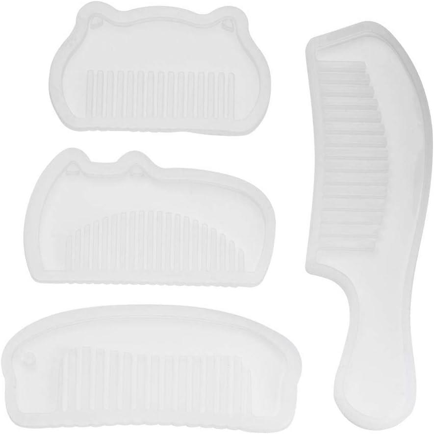 4 moldes de silicona para peine resina joyería 3D DIY