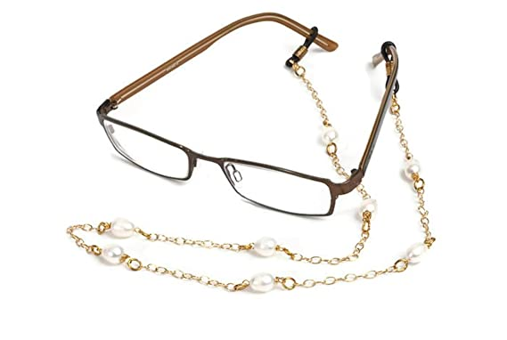 c4c67d0b8d4a Champagne Gold and Pearl Eyeglass Chain for Women Holder