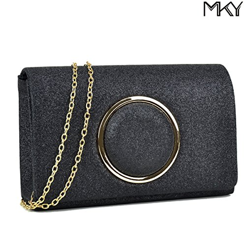 Sequins Clutch Evening Party Bag (Black) - 7