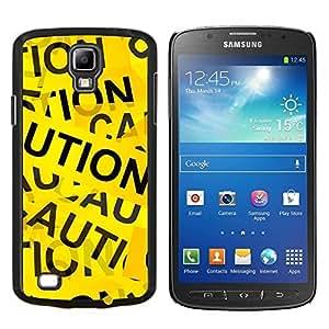 KLONGSHOP // Cubierta de piel con cierre a presión Shell trasero duro de goma Protección Caso - Cinta de la precaución Muestra aleatoria Cita Arte amarillo - Samsung Galaxy S4 Active i9295 //