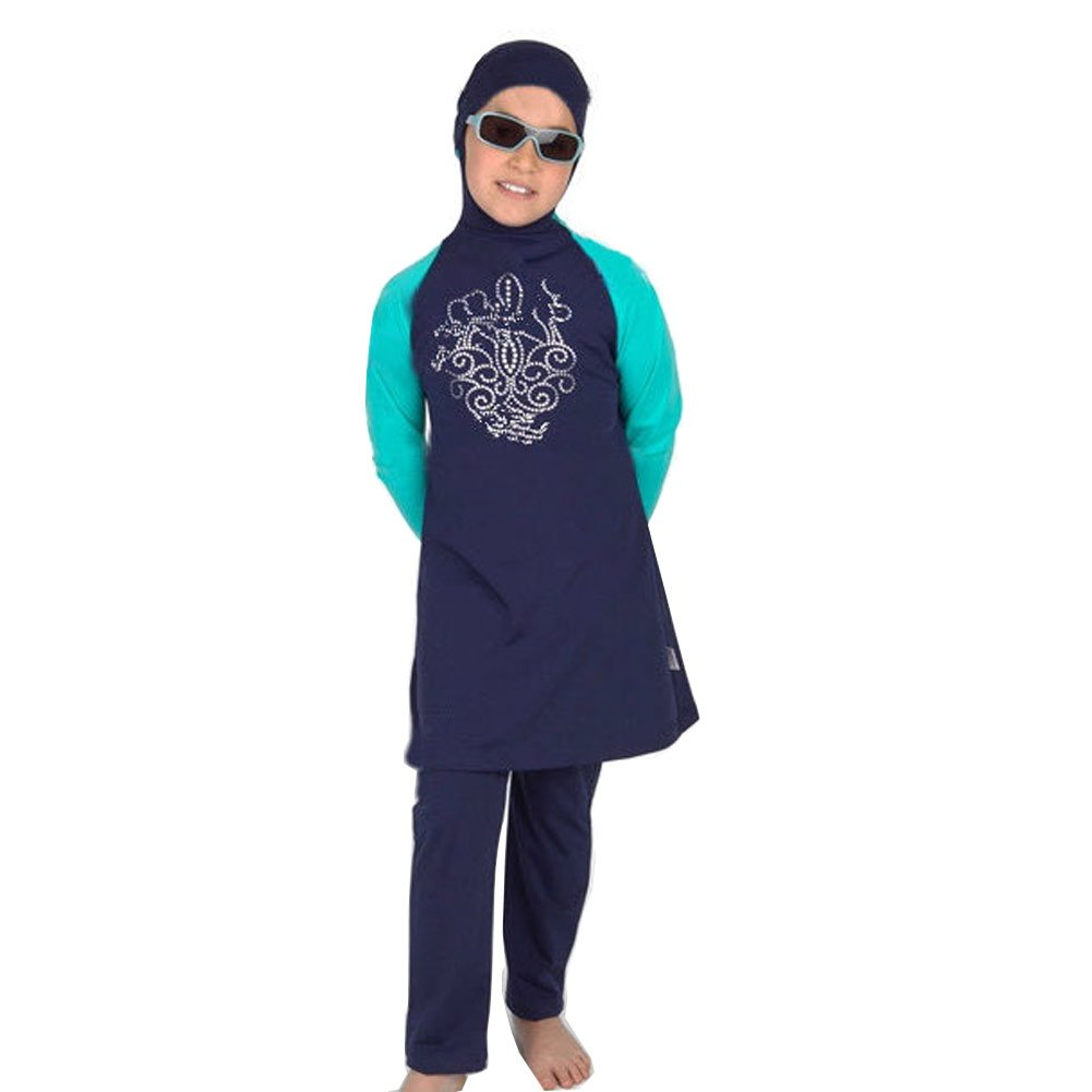 Lazy Cat Children Two Pieces swimwear Islamic Swimsuit for Little Girl